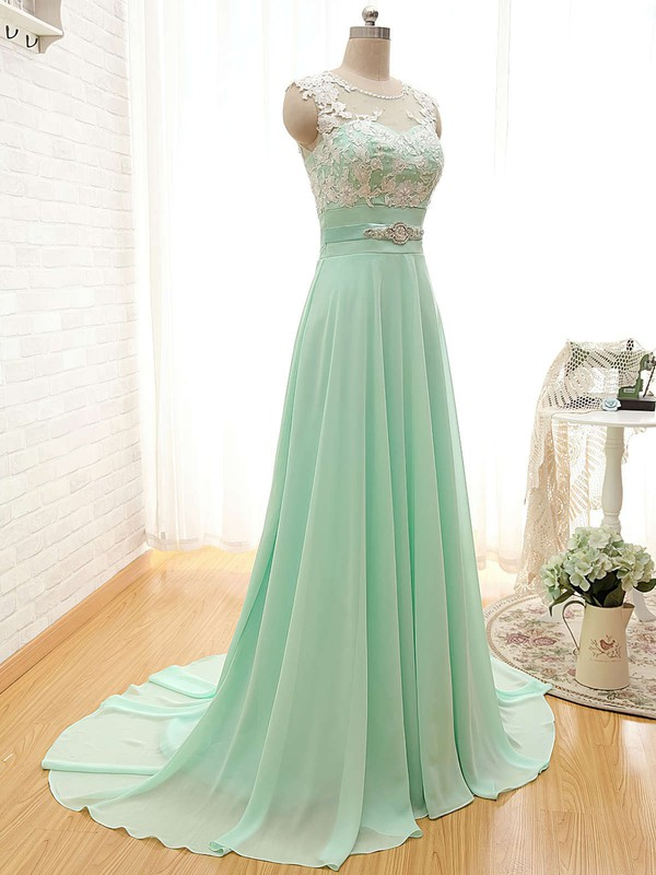 Scoop Neck Chiffon Appliques Lace Court Train Sage Fashion Bridesmaid Dresses #DOB01012804