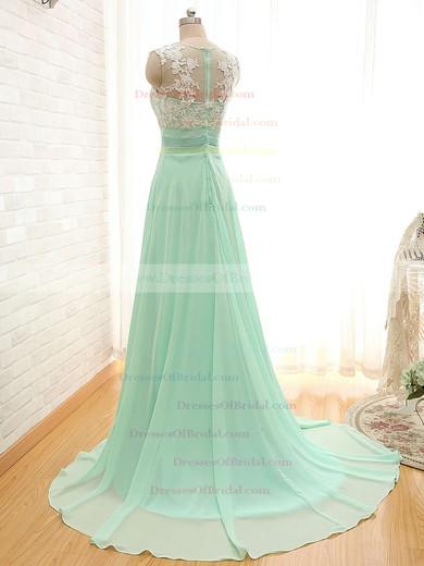 Scoop Neck Chiffon Appliques Lace Court Train Sage Fashion Bridesmaid Dresses #DOB01012804