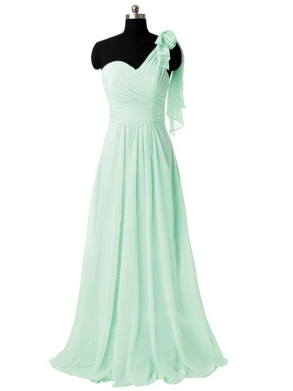 Different Sage Chiffon Sweep Train Ruffles One Shoulder Bridesmaid Dresses #DOB01012805