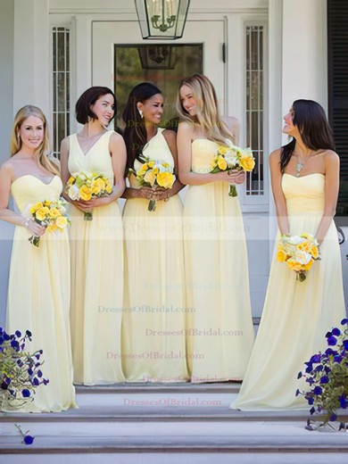 Light Yellow A-line Chiffon Ruffles Top One Shoulder Bridesmaid Dresses #DOB01012806