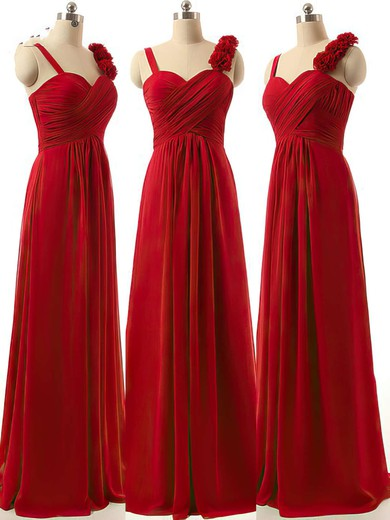 A-line Burgundy Sweetheart Chiffon Ruffles Newest Bridesmaid Dresses #DOB01012808