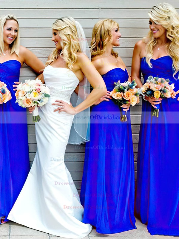 Sweetheart Royal Blue Chiffon Ruffles Popular Empire Bridesmaid Dresses #DOB01012809