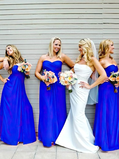 Sweetheart Royal Blue Chiffon Ruffles Popular Empire Bridesmaid Dresses #DOB01012809