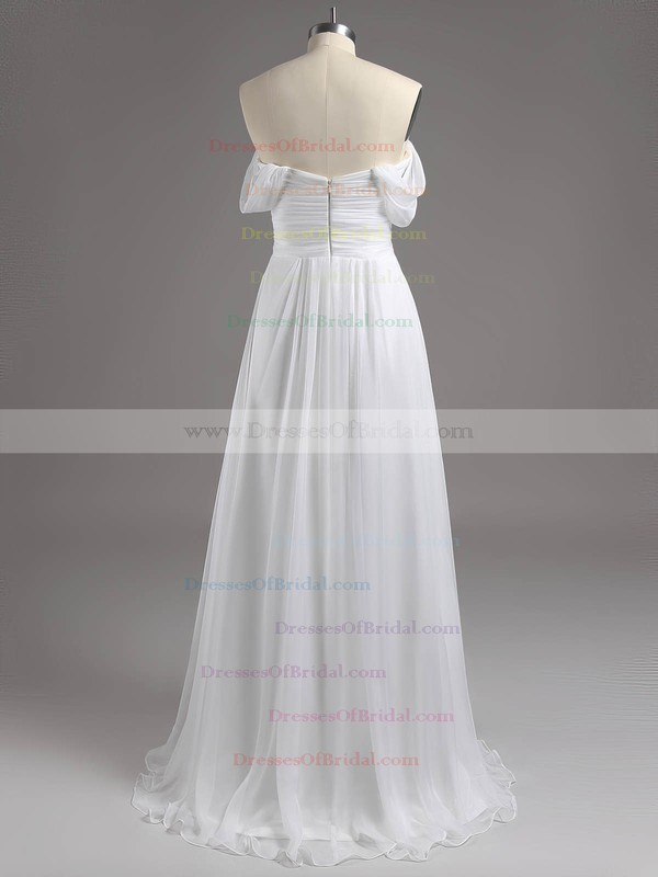 A-line Tulle Ruffles Silver Off-the-shoulder Bridesmaid Dresses #DOB01012810