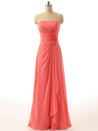 Boutique Chiffon Floor-length Flower(s) Strapless Bridesmaid Dresses #DOB01012811