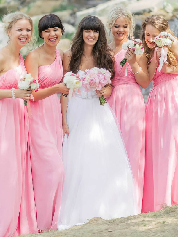 One Shoulder Pink Chiffon Floor-length Ruffles Sweet Bridesmaid Dresses #DOB01012812
