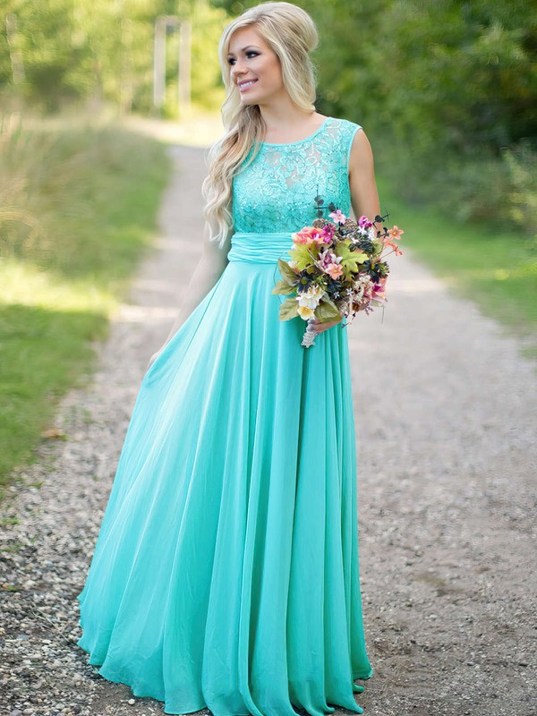 Scoop Neck Lace Chiffon Ruched Floor-length Gorgeous Bridesmaid Dresses #DOB01012813