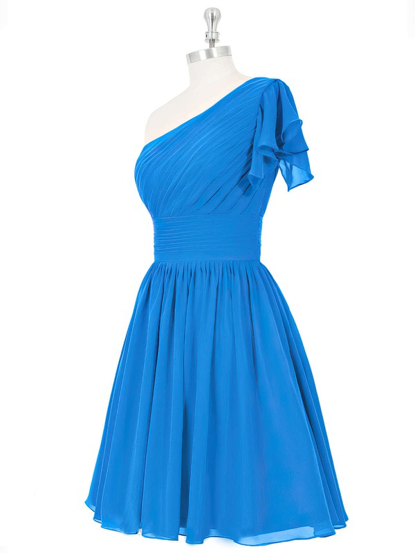 Nice Blue Chiffon Ruched Short/Mini One Shoulder Bridesmaid Dresses #DOB01012815
