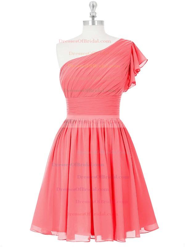 Nice Blue Chiffon Ruched Short/Mini One Shoulder Bridesmaid Dresses #DOB01012815