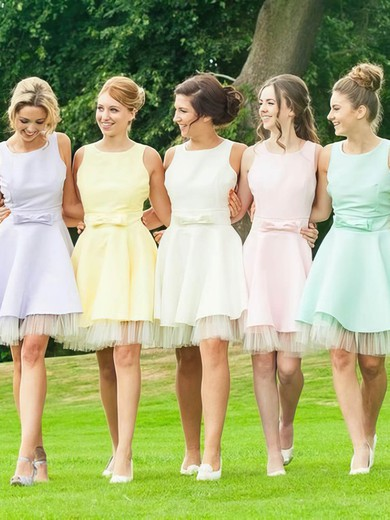 Short/Mini A-line Satin Tulle with Bow Open Back Bridesmaid Dresses #DOB01012816