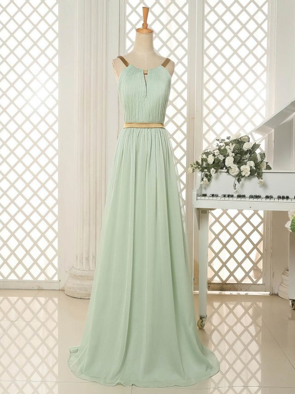 Best Sweep Train Scoop Neck Chiffon Ruffles Open Back Bridesmaid Dresses #DOB01012818