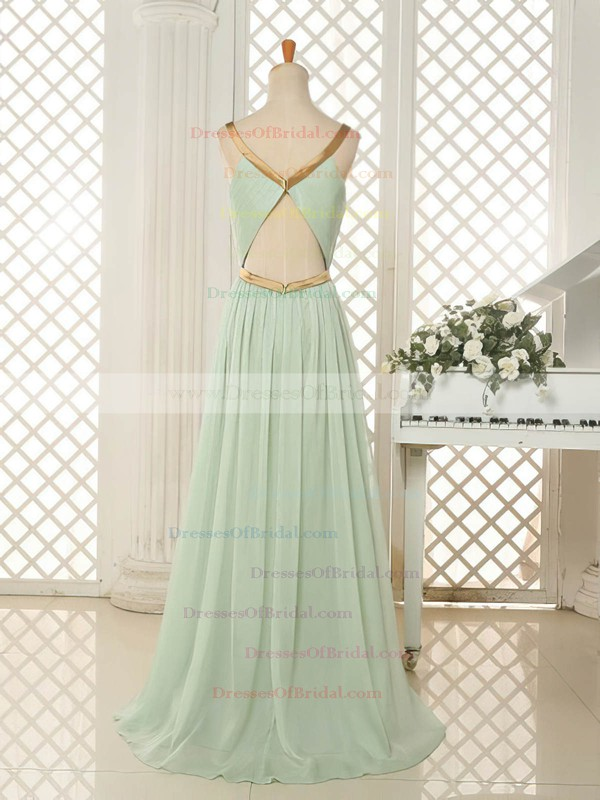 Best Sweep Train Scoop Neck Chiffon Ruffles Open Back Bridesmaid Dresses #DOB01012818