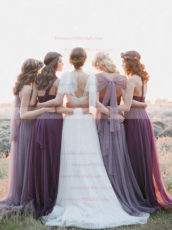 Amazing Tulle Sweep Train with Ruffles Halter Bridesmaid Dresses #DOB01012819