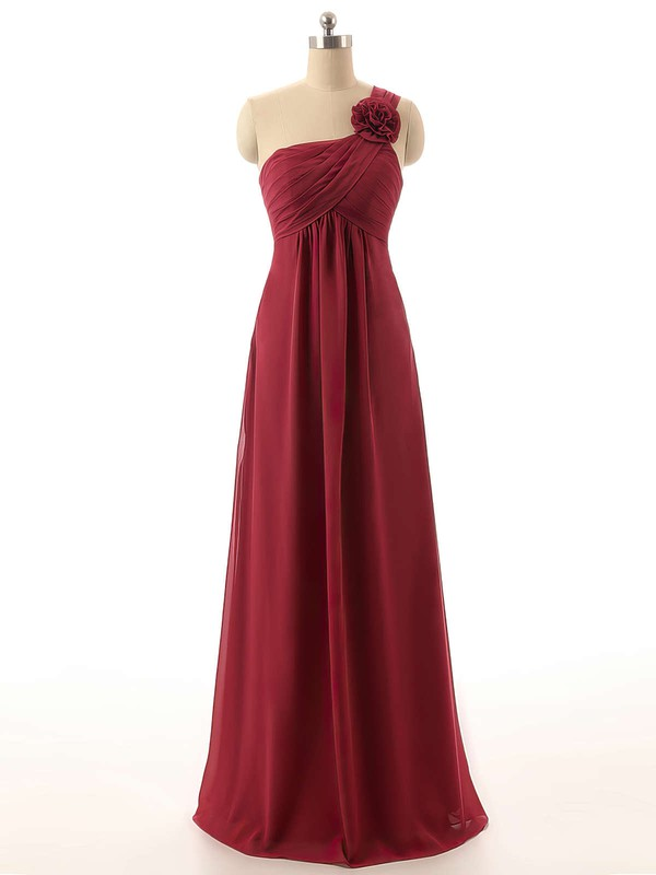 Empire Chiffon Flower(s) Burgundy Cheap One Shoulder Bridesmaid Dresses #DOB01012820