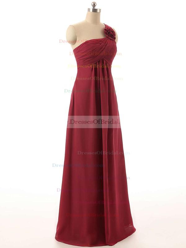 Empire Chiffon Flower(s) Burgundy Cheap One Shoulder Bridesmaid Dresses #DOB01012820