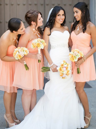 Good Sweetheart Chiffon Short/Mini Ruffles Pink Bridesmaid Dresses #DOB01012821
