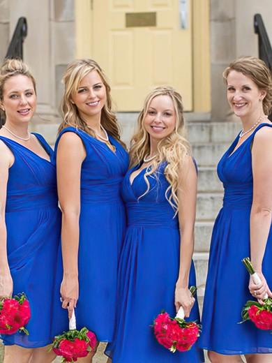 V-neck Chiffon Ruffles Pretty Royal Blue Knee-length Bridesmaid Dresses #DOB01012823