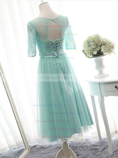 Knee-length Scoop Neck Lace Tulle Bow 1/2 Sleeve Bridesmaid Dresses #DOB01012824