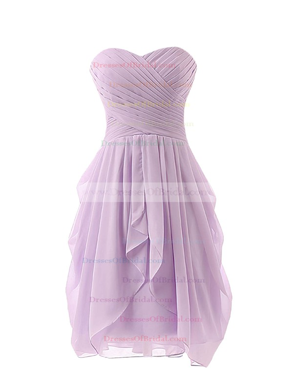 Online Sweetheart Lavender Ruffles Chiffon Short/Mini Bridesmaid Dress #DOB01012825
