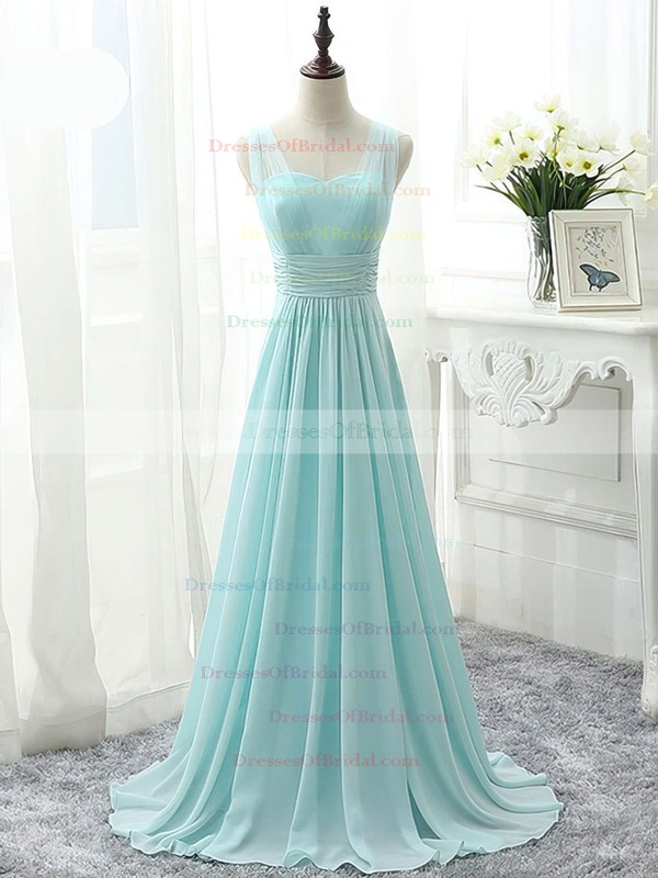 Famous Sweetheart Chiffon Sweep Train Ruffles Sage Bridesmaid Dress #DOB01012826