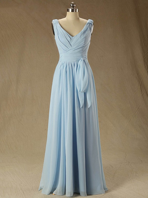V-neck Ruffles Chiffon Floor-length Discount Bridesmaid Dress #DOB01012827