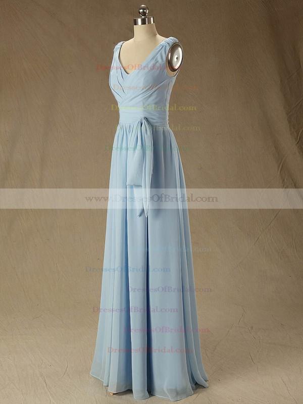 V-neck Ruffles Chiffon Floor-length Discount Bridesmaid Dress #DOB01012827