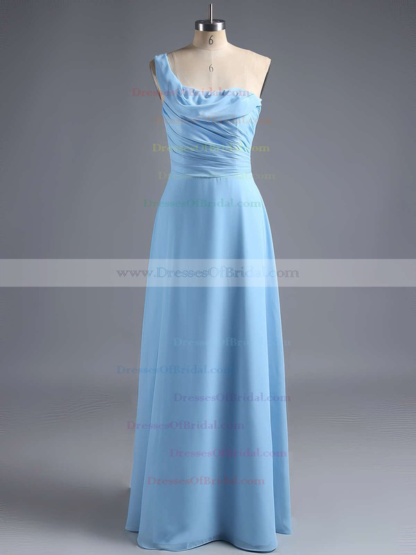 Sheath/Column Ruffles Chiffon Ladies One Shoulder Bridesmaid Dress #DOB01012828