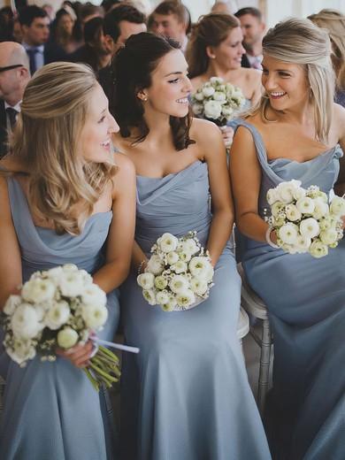 Sheath/Column Ruffles Chiffon Ladies One Shoulder Bridesmaid Dress #DOB01012828