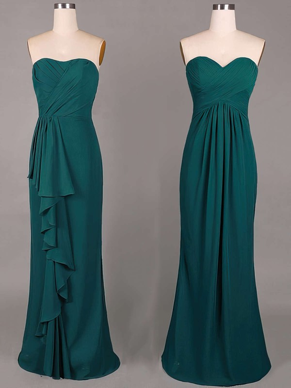 Sweetheart Online Sheath/Column Chiffon Ruffles Dark Green Bridesmaid Dresses #DOB01012859
