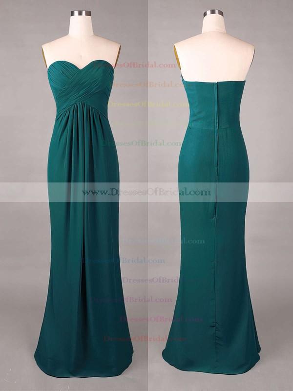 Sweetheart Online Sheath/Column Chiffon Ruffles Dark Green Bridesmaid Dresses #DOB01012859