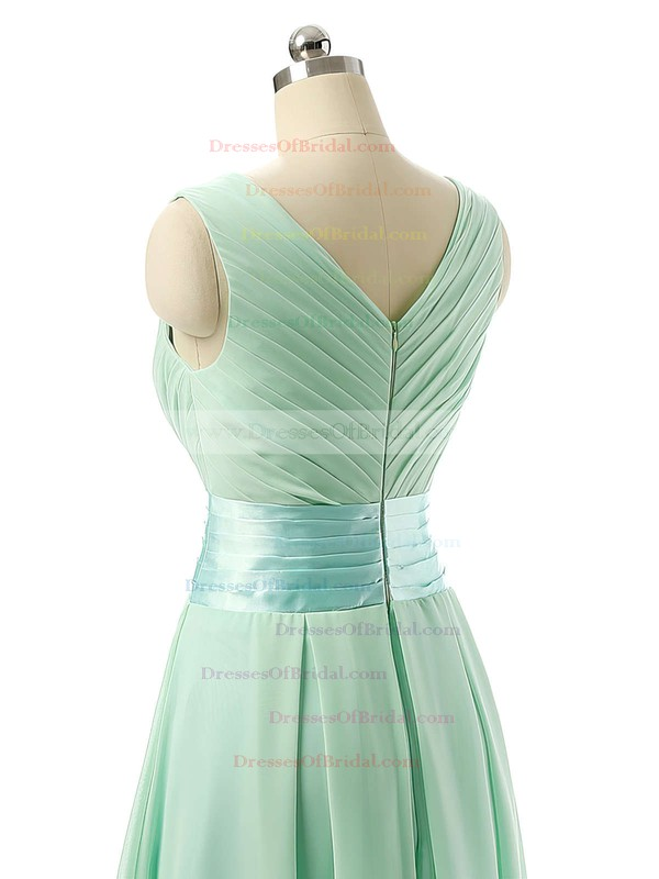 Cheap V-neck Chiffon Sashes / Ribbons Knee-length Bridesmaid Dresses #DOB01012860