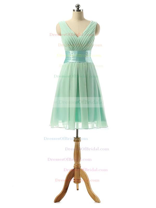 Cheap V-neck Chiffon Sashes / Ribbons Knee-length Bridesmaid Dresses #DOB01012860