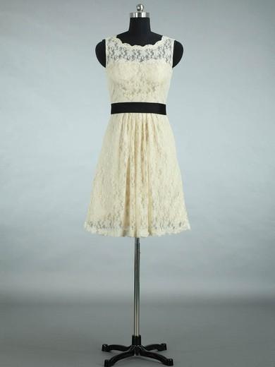 Scalloped Neck Lace Sashes / Ribbons Designer Short/Mini Bridesmaid Dresses #DOB01012861