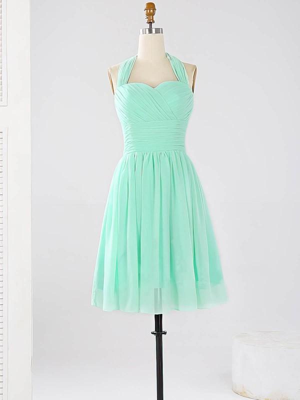 2016 Halter Chiffon Ruched Sage Short/Mini Bridesmaid Dresses #DOB01012862