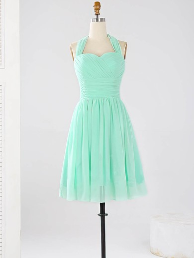 2016 Halter Chiffon Ruched Sage Short/Mini Bridesmaid Dresses #DOB01012862