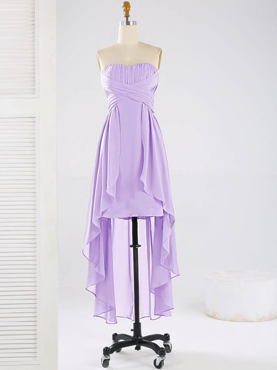 Asymmetrical Sweetheart Chiffon Ruffles Elegant High Low Bridesmaid Dresses #DOB01012863