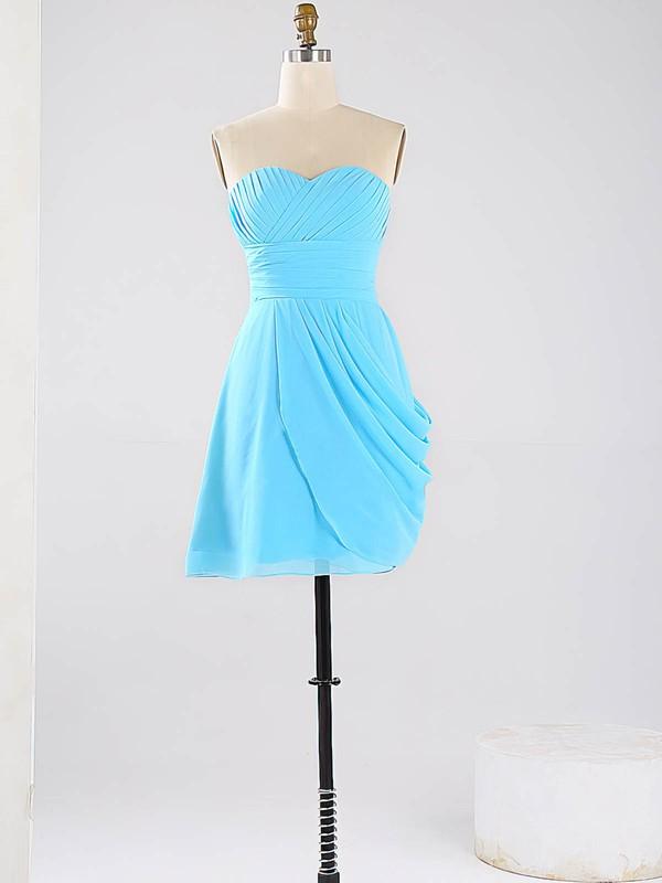 Blue Sweetheart Vintage Chiffon Ruched Short/Mini Bridesmaid Dresses #DOB01012864