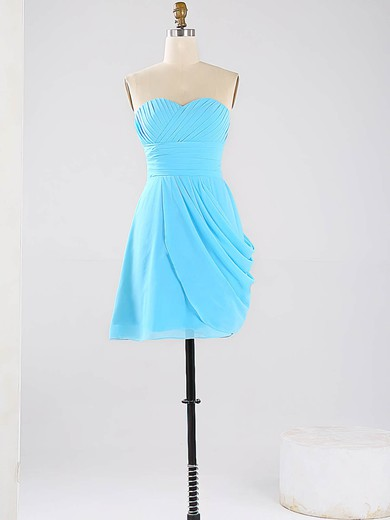 Blue Sweetheart Vintage Chiffon Ruched Short/Mini Bridesmaid Dresses #DOB01012864