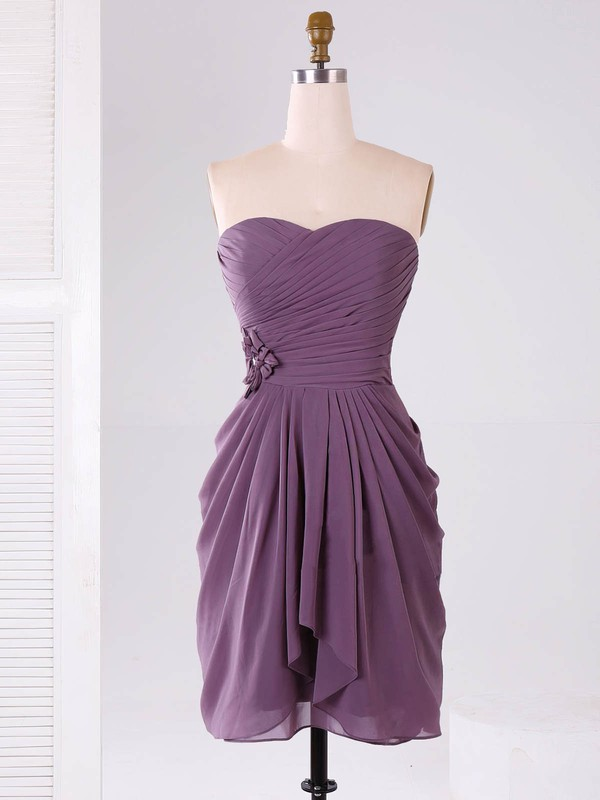 Modest Sweetheart Chiffon Ruffles Short/Mini Bridesmaid Dresses #DOB01012865