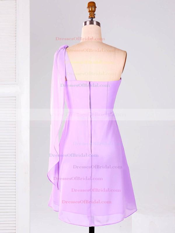 One Shoulder Chiffon Ruffles Unique Lilac Short/Mini Bridesmaid Dresses #DOB01012866