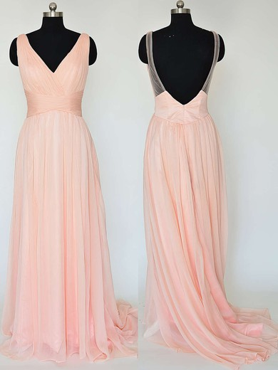 V-neck Pretty Chiffon Ruffles Sweep Train Backless Bridesmaid Dresses #DOB01012867
