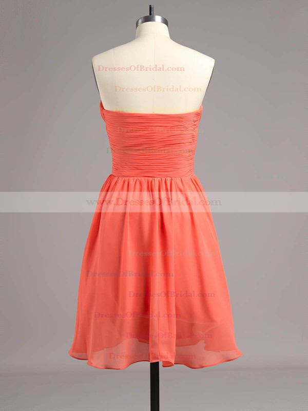 Girls Empire Chiffon Ruched Watermelon Short/Mini Bridesmaid Dresses #DOB01012868