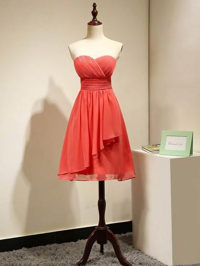 Girls Empire Chiffon Ruched Watermelon Short/Mini Bridesmaid Dresses #DOB01012868