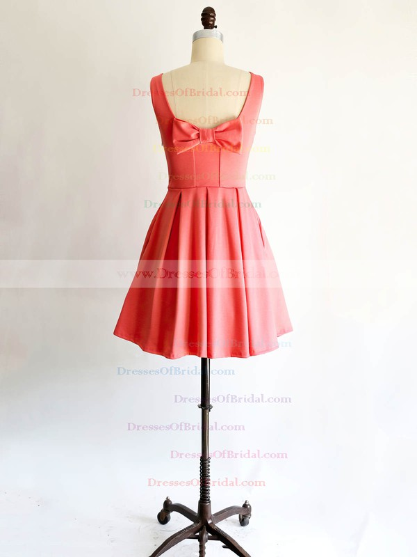 Scoop Neck Satin with Bow Affordable Short/Mini Bridesmaid Dresses #DOB01012869