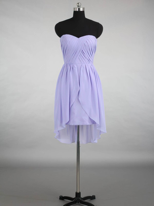 Inexpensive Sweetheart Chiffon Ruffles Asymmetrical Bridesmaid Dresses #DOB01012870