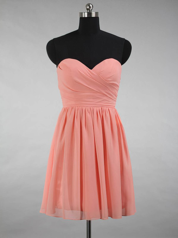 A-line Sweetheart Chiffon Ruffles Simple Short/Mini Bridesmaid Dresses #DOB01012871