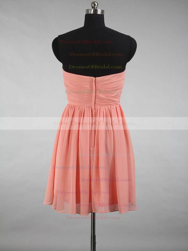 A-line Sweetheart Chiffon Ruffles Simple Short/Mini Bridesmaid Dresses #DOB01012871