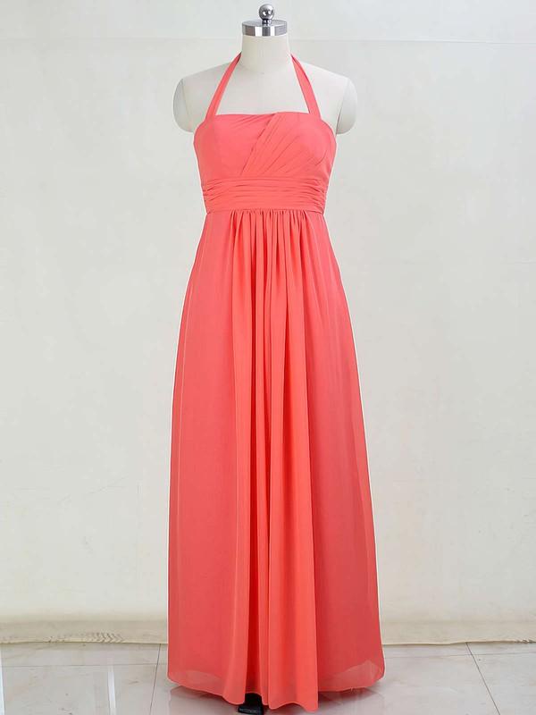 Promotion Chiffon Floor-length Ruffles Halter Bridesmaid Dresses #DOB01012873