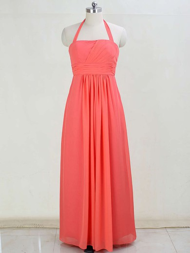 Promotion Chiffon Floor-length Ruffles Halter Bridesmaid Dresses #DOB01012873