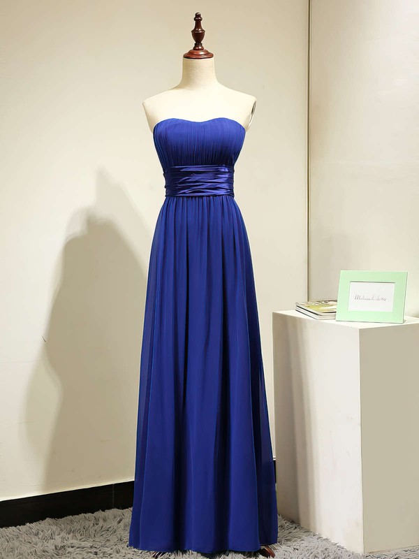 A-line Chiffon Sashes / Ribbons Discounted Royal Blue Strapless Bridesmaid Dresses #DOB01012875